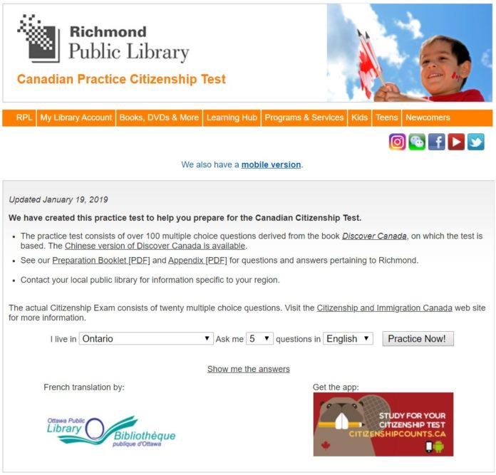 2019 Canadian Practice Citizenship Test